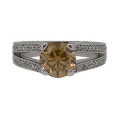 18 Karat Brown Diamond Solitaire Ring with Diamond Shoulders White Gold