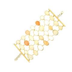 18 Karat Brushed Gold Opal Bracelet