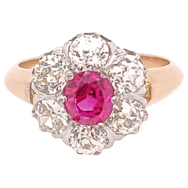18 Karat Burma Ruby Diamond Ring GIA Rose White Gold Halo