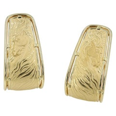 "18 Karat Carrera y Carrera Yellow Gold Earrings with ""Horse"" Theme"