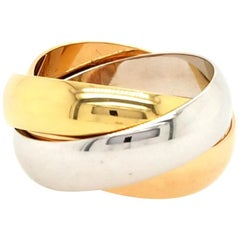 18 Karat Cartier Trinity Ring White Gold, Rose Gold and Yellow Gold
