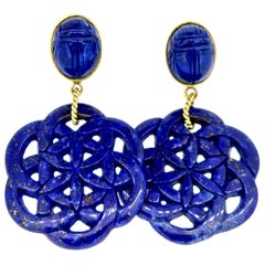 18 Karat Carved Lapis Lazuli Scarab Drop Earrings