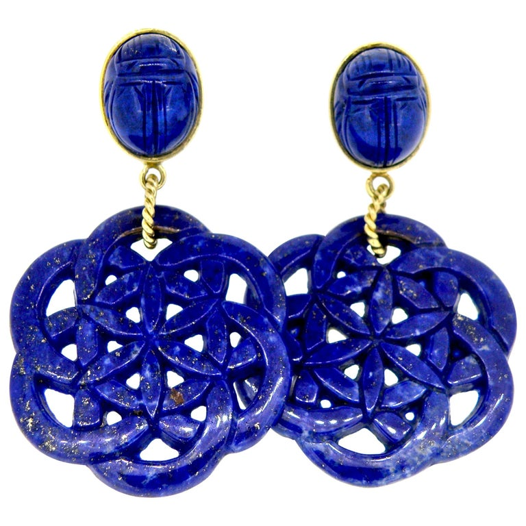 18 Karat Carved Lapis Lazuli Scarab Drop Earrings For Sale