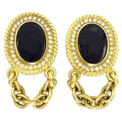 18 Karat Carved Onyx and Diamond Chain Drop Earrings