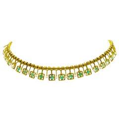 Castellani 18 Karat Emerald, Pearl, and Gold Necklace