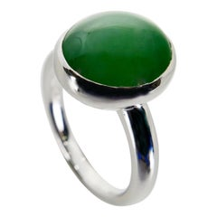 Certified Natural Type A Jadeite Jade Ring, Apple Green Color, Unisex