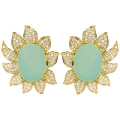 18 Karat Chalcedony Diamond Gold Earrings
