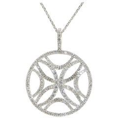18 Karat Circle Diamond Pendant Necklace White Gold 2.42 Carat