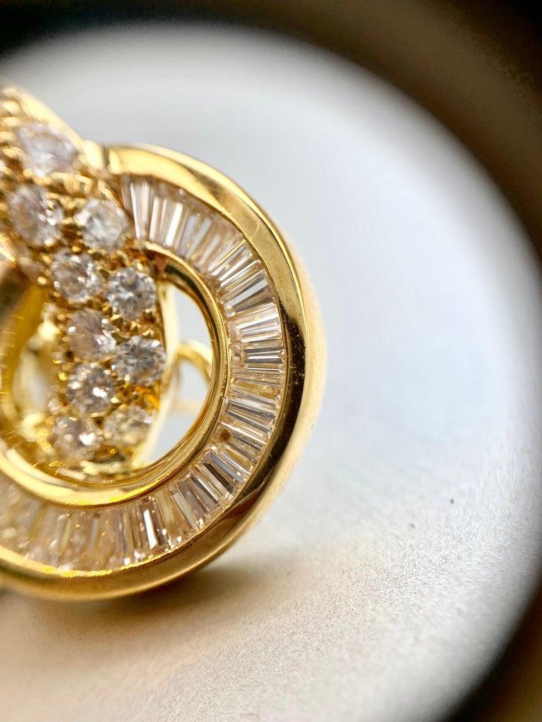 18 Karat Circle Drop Diamond Earrings For Sale 7