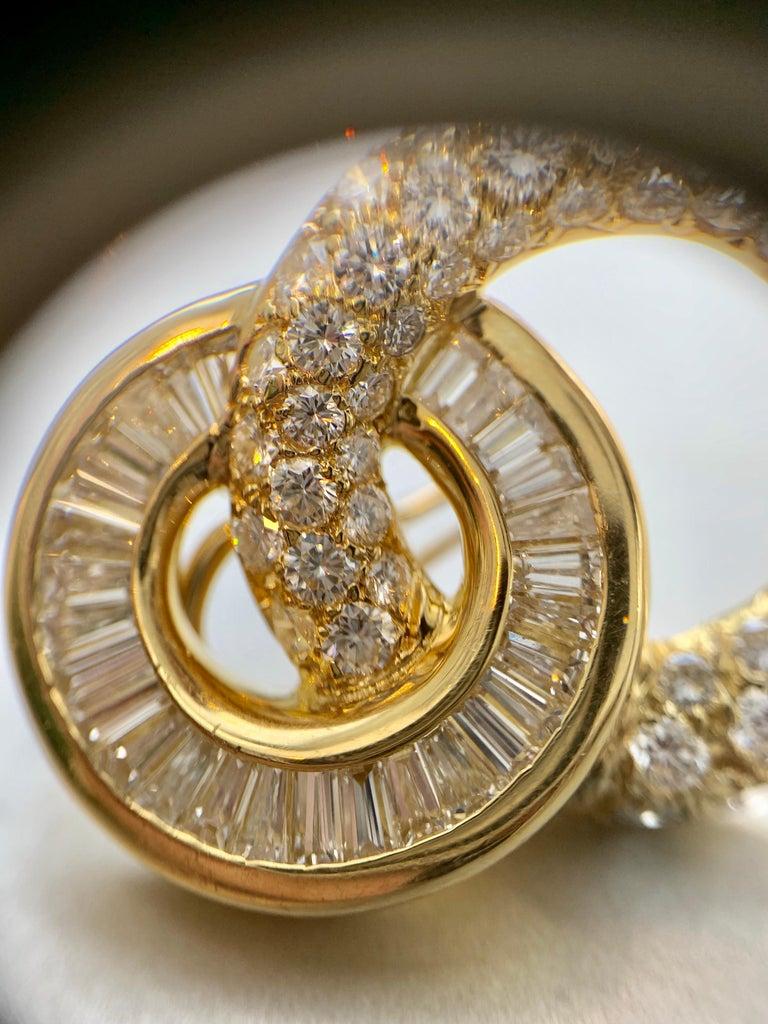 18 Karat Circle Drop Diamond Earrings For Sale 8