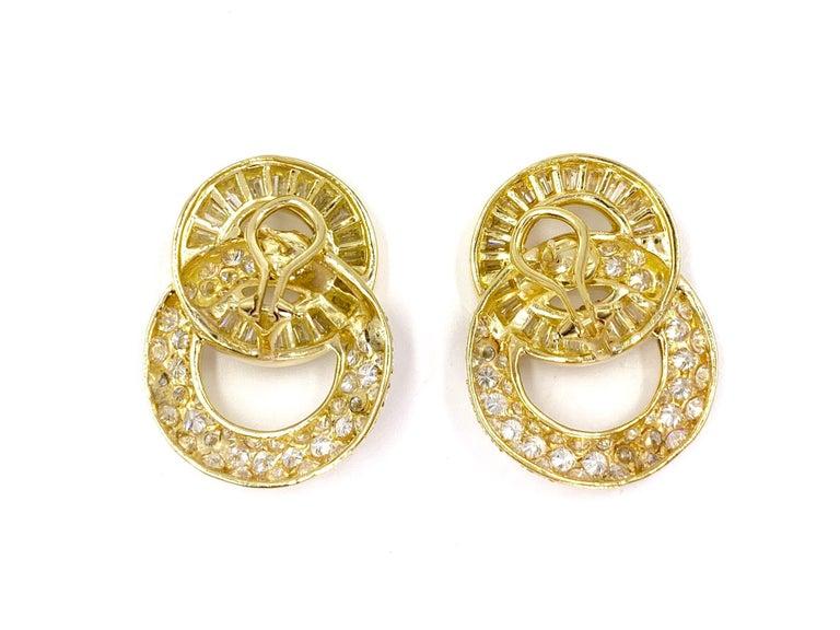 18 Karat Circle Drop Diamond Earrings For Sale 1