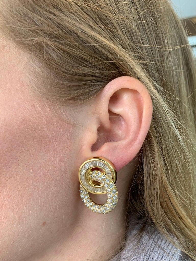 18 Karat Circle Drop Diamond Earrings For Sale 4