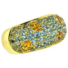 18 Karat Citrine and Blue Topaz Modern Ring