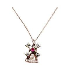 18 Karat Classical 4 Letters Love Ruby Diamond Windmill Charm / Pendent
