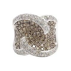 18 Karat Cognac and White Diamond Wide Ring