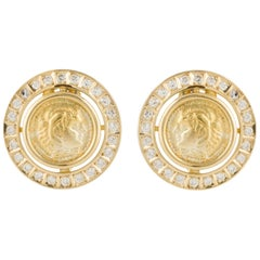 18 Karat Coin Earrings with Diamonds