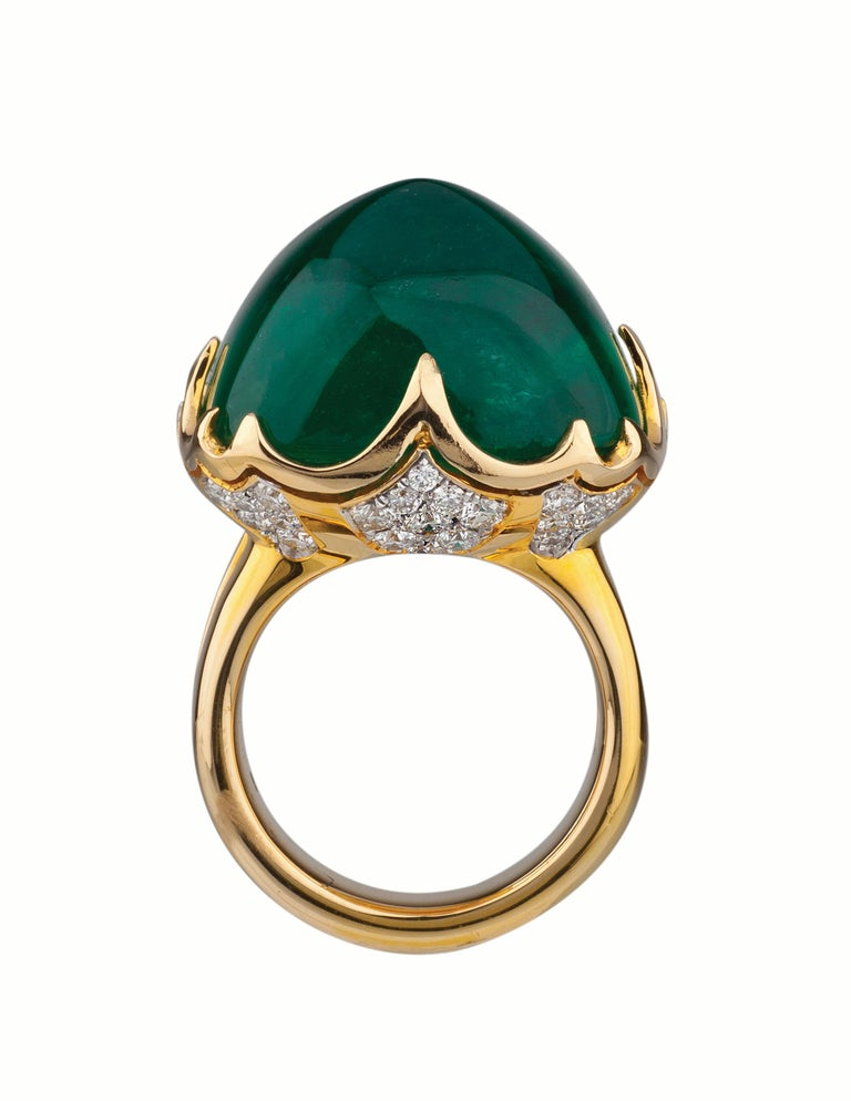 18k Ring with 34.77 carat Gubelin certified Colombian emerald cabochon and approximately 1.00 carats of diamonds