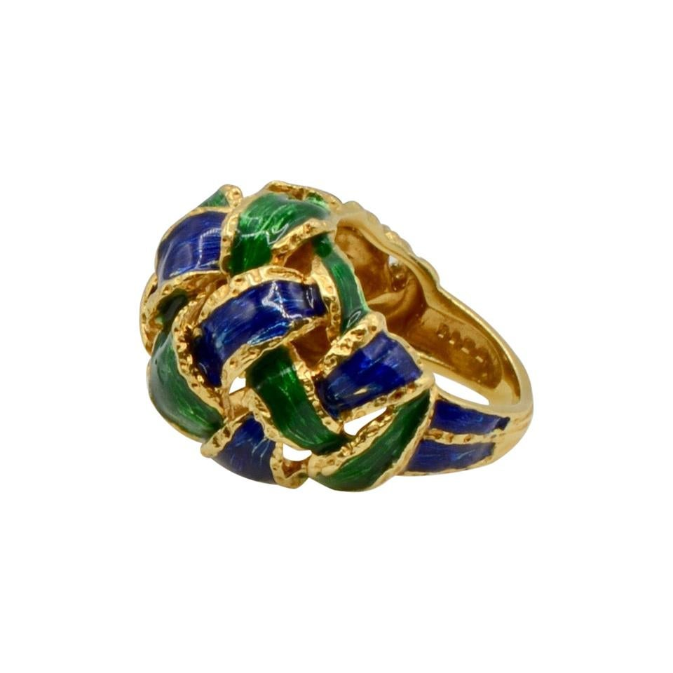 18 Karat Colorful Woven Enamel Dome Ring
