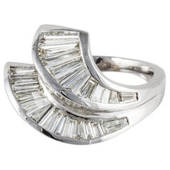18 Karat Contemporary Baguette Diamond Double Row Ring