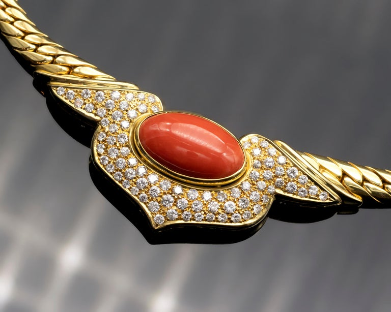 Contemporary 18 Karat Coral and Diamond Necklace For Sale