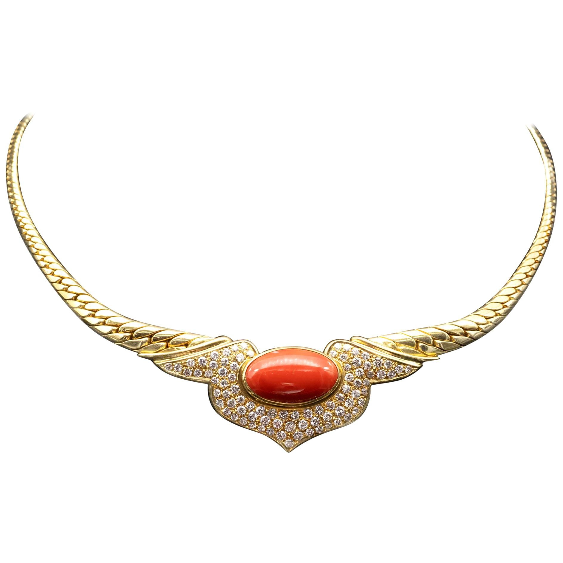 18 Karat Coral and Diamond Necklace