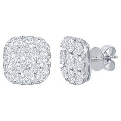 18 Karat Cushion Shaped Diamond Earrings 3 Carat