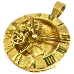 18 Karat Custom Clock Pendant