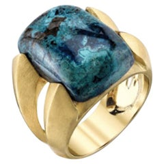 Double Ridge Chrysocolla Cocktail Ring 18k Yellow Gold