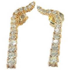 18 Karat Dangle Diamond Earrings Drop Yellow Gold 4.50 Carat
