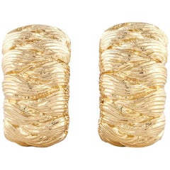 18 Karat David Webb Textured Gold Hoop Earrings