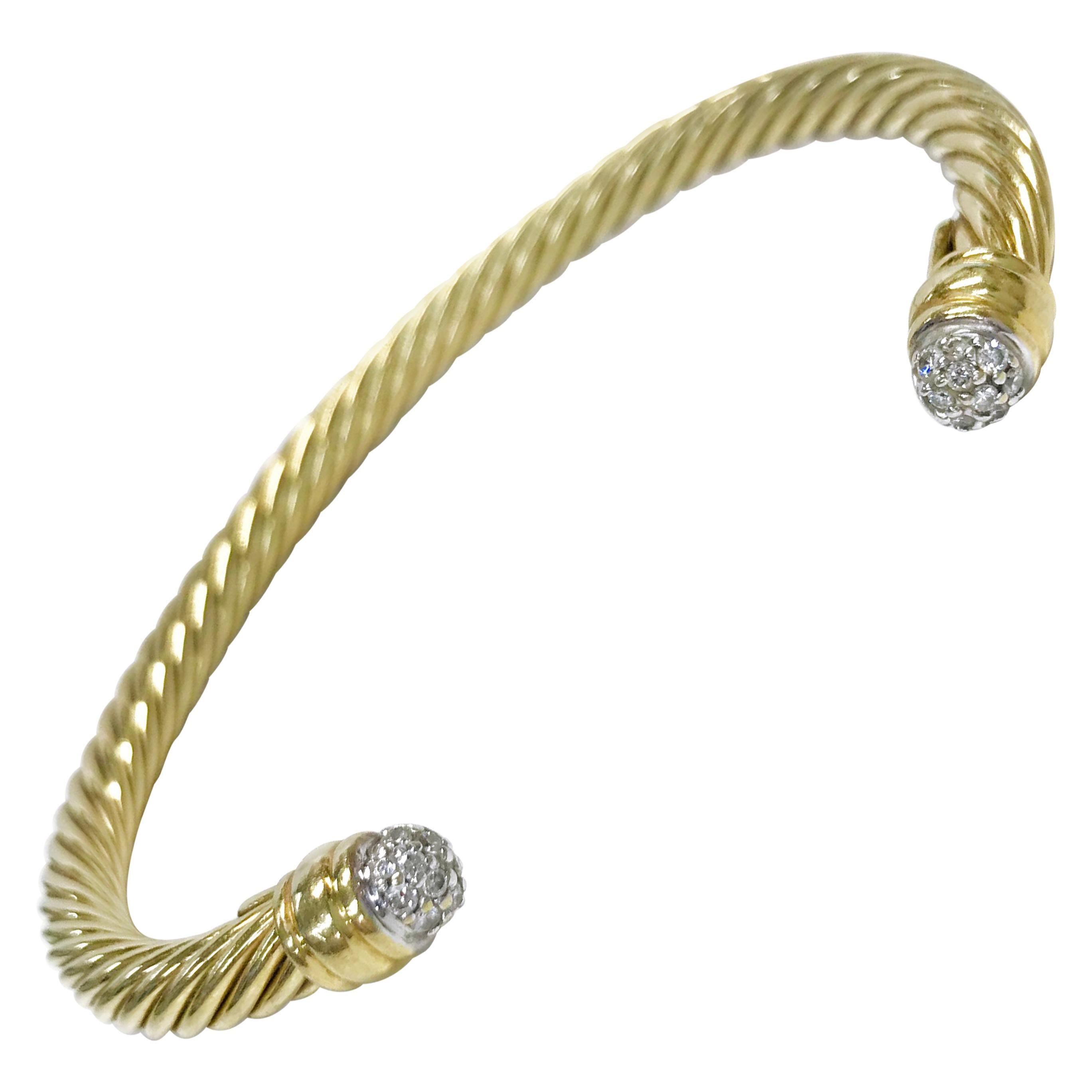 18 Karat David Yurman Diamond Pave Spira Cable Cuff Bracelet