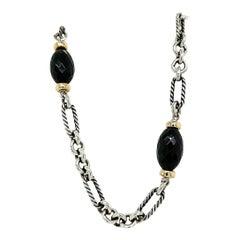 18 Karat David Yurman Onyx Cable Necklace Black White Sterling Silver