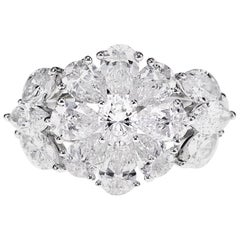 18 Karat Designer Ring Studded with 3.32 Carat White Diamond Shapes