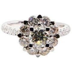 18 Karat Diamond 0.99 Carat Flower Cluster Ring, Unique Heart Shaped Prongs