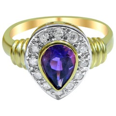 18 Karat Vintage Diamond and Amethyst Ladies Ring