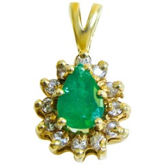 18 Karat Diamond and Colombian Emerald Ladies Pendant