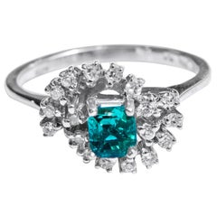 18 Karat Diamond and Colombian Emerald Ring