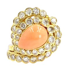 18 Karat Diamond and Coral Cocktail Ring