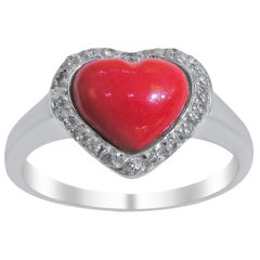18 Karat Vintage Diamond and Coral Ladies Ring