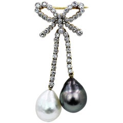 18 Karat Diamond and Cultured Pearl Brooch