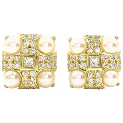 18 Karat Diamond and Cultured Pearl Square Button Earrings