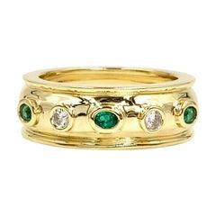 18 Karat Diamond and Emerald Band Ring