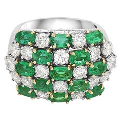 18 Karat Diamond and Emerald Cocktail Ring
