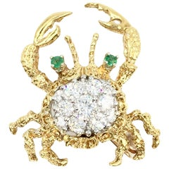 18 Karat Diamond and Emerald Crab Brooch
