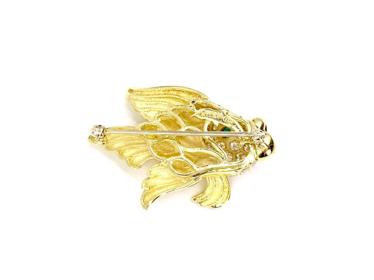 18 Karat Diamond and Emerald Fish Brooch In New Condition For Sale In Pikesville, MD