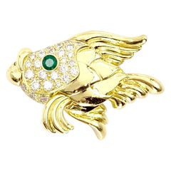 18 Karat Diamond and Emerald Fish Brooch
