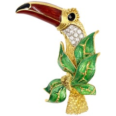 18 Karat Diamond and Enamel Toucan Bird Brooch