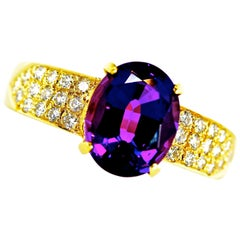 18 Karat, Diamond and Fine Amethyst Ring