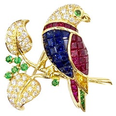 18 Karat Diamond and Gemstone Parrot Brooch