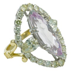 William Llewellyn Griffiths 18 Karat Diamond and Morganite Seraphic Glory Ring